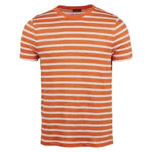 Orange Striped Linen T-Shirt