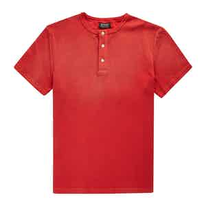 Red Cotton Waffle Knit Tuco Henley T-shirt