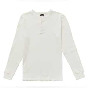 White Cotton Waffle Knit Tuco Henley Shirt