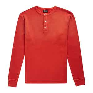 Red Cotton Waffle Knit Tuco Henley Shirt