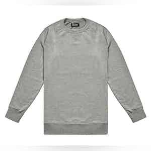 Meroni Grey Cotton Plain Crewneck Sweatshirt