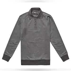 Meroni Vintage Black Cotton Polo Neck Sweatshirt