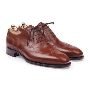 Brown Box Calf Wingtip Oxford Shoe
