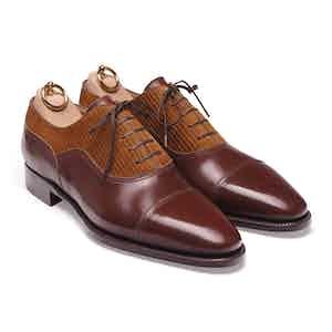 Brown Box Calf and Corduroy Balmoral Oxford Shoe
