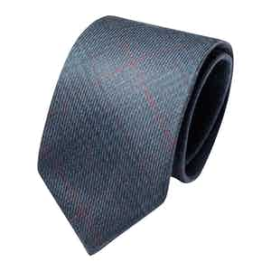 Light Blue Wool Check Classic Tie