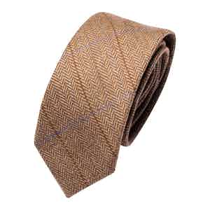 Brown Overcheck Wool Classic Tie