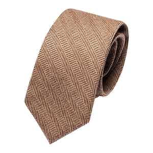 Brown Spiga Wool Classic Tie