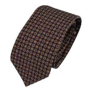 Navy Blue Wool and Silk Geometric Classic Tie