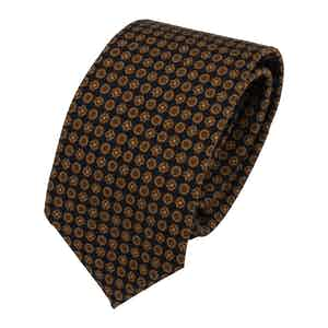 Navy Blue and Green Wool and Silk Geometric Silk Classic Tie