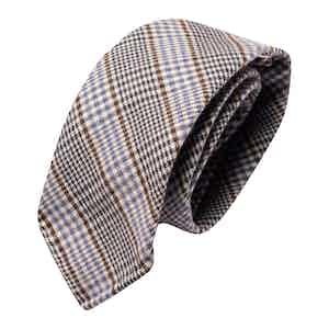 Brown & Blue Prince de Galles  Wool Classic Tie