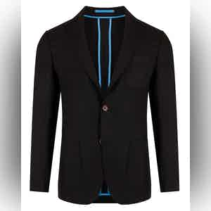 Black Unlined Single-Breasted Patch Pocket Jacket