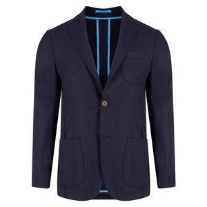 Navy Unlined Single-Breasted Patch Pocket Jacket