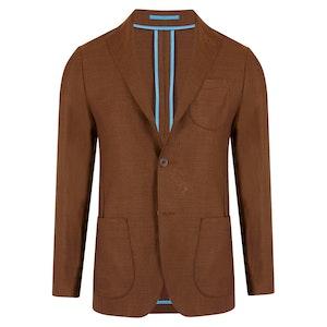 Havana Brown Unlined Single-Breasted Patch Pocket Jacket