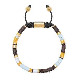 Blue, Brown, Orange, White and Gold Disc Beaded Bracelet