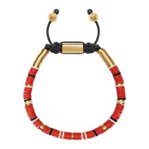 Red, White and Gold Disc Beaded Bracelet