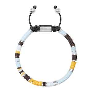 Blue, Brown, Orange, White and Silver Disc Beaded Bracelet