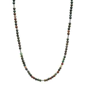 Green Jasper and Sterling Silver Beaded Necklace