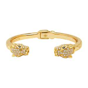 Gold Stainless Steel CZ Panther Bangle