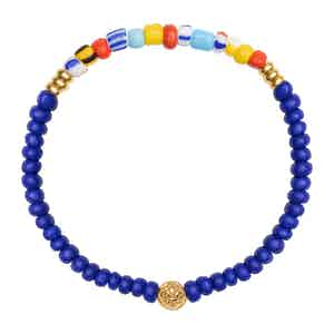 Blue Lapis and Colorful Vintage Beads Wristband