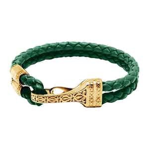 Green Leather with Gold Bali Clasp Lock Bracelet