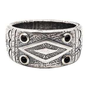 Silver Matte Onyx Engraved Vintage Ring