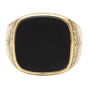 Silver Matte Onyx Vintage Gold Sterling Signet Ring