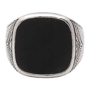 Silver Matte Onyx Vintage Sterling Signet Ring