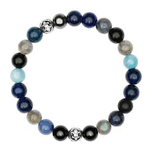 Blue Lapis Turquoise Hematite and Silver Wristband