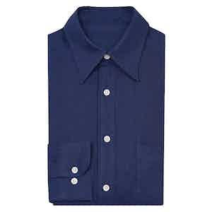 Navy Point Collar Linen Shirt