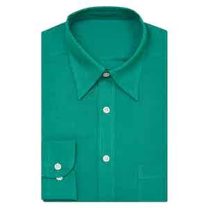 Green Point Collar Linen Shirt