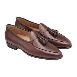 Sagan Brown Calf Leather Grand Tassel Loafers