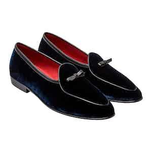 Sagan Navy Classic Bow Slippers