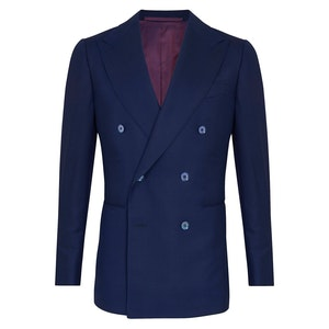 Navy Wool Blend Double-Breasted Navy Jacket