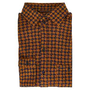 Black and Gold Silk Knitted Shirt