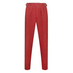 Red Linen Manny Trousers