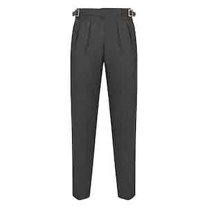 Dark Grey Hopsack Wool Manny Trousers