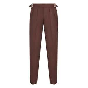 Burgundy Wool Flannel Manny Trousers