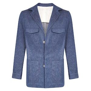Navy Cotton Linen Denim Weekender Jacket