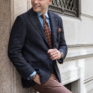Blue Donegal Tweed Single-Breasted Blazer