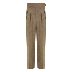 Olive Green Wool Manny Trousers