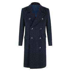 Black and Navy Virgin Wool Macro Long Double-Breasted Albert Overcoat