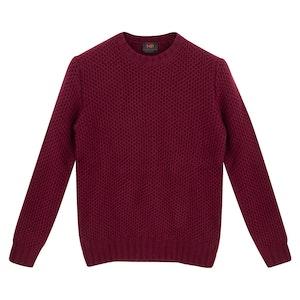 Burgundy Lambswool HoneyCombe Sweater