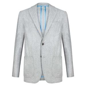 Light Grey Wool Flannel Single-Breasted Unlined Jacket