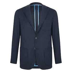 Navy Wool Flannel Single-Breasted Unlined Jacket