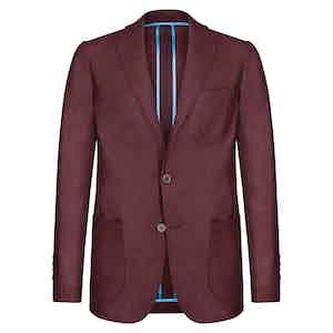 Burgundy Wool Flannel Single-Breasted Unlined Jacket