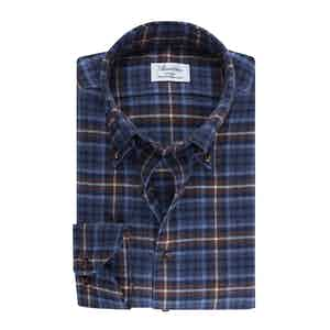Blue Flannel Checked Slimline Shirt
