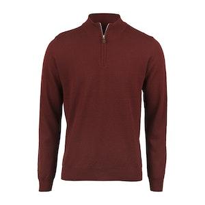 Red Merino Wool Half Zip Sweater