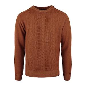 Orange Merino Wool Dyed Cable Crewneck Sweater
