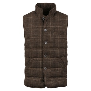 Brown Wool Checked Quilted Vest