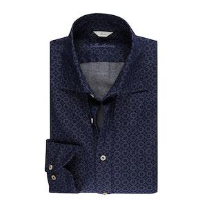 Denim Blue Medallion Printed Casual Slimline Shirt